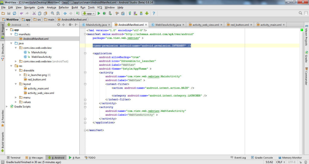 get data from website with WebView in Android Studio 10