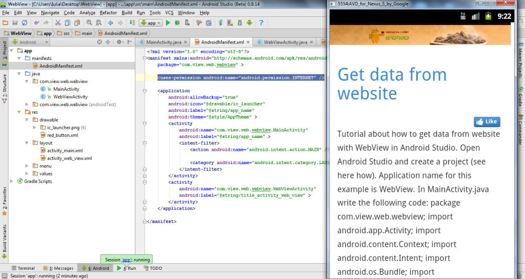 get data from website with WebView in Android Studio 12