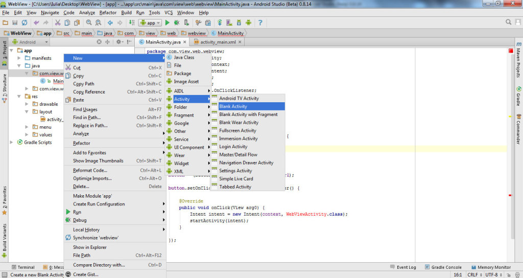 get data from website with WebView in Android Studio 3