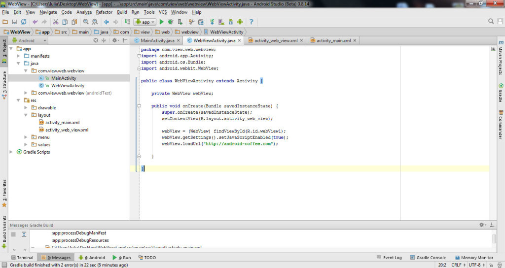 get data from website with WebView in Android Studio 5