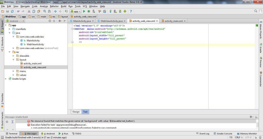 get data from website with WebView in Android Studio 6