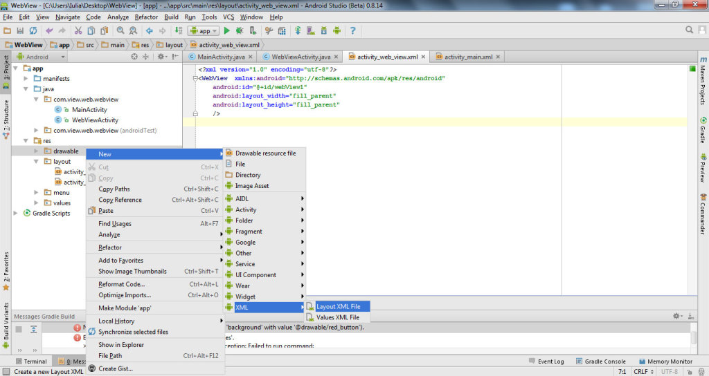 get data from website with WebView in Android Studio 7