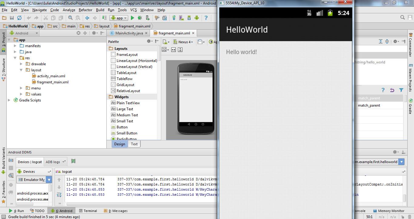 now our app run on emulator created