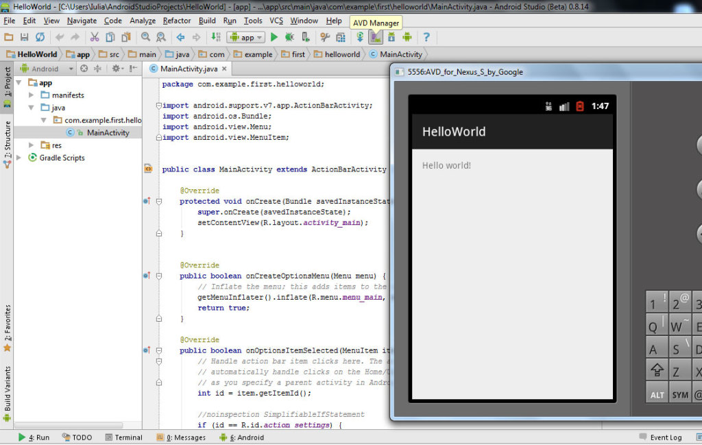 run hello world in android studio