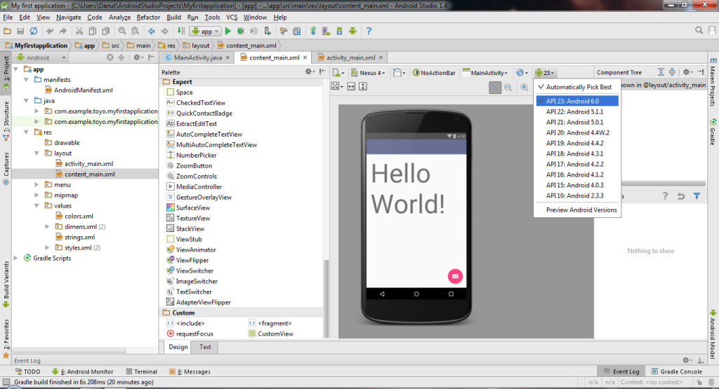 Creating first Android Project