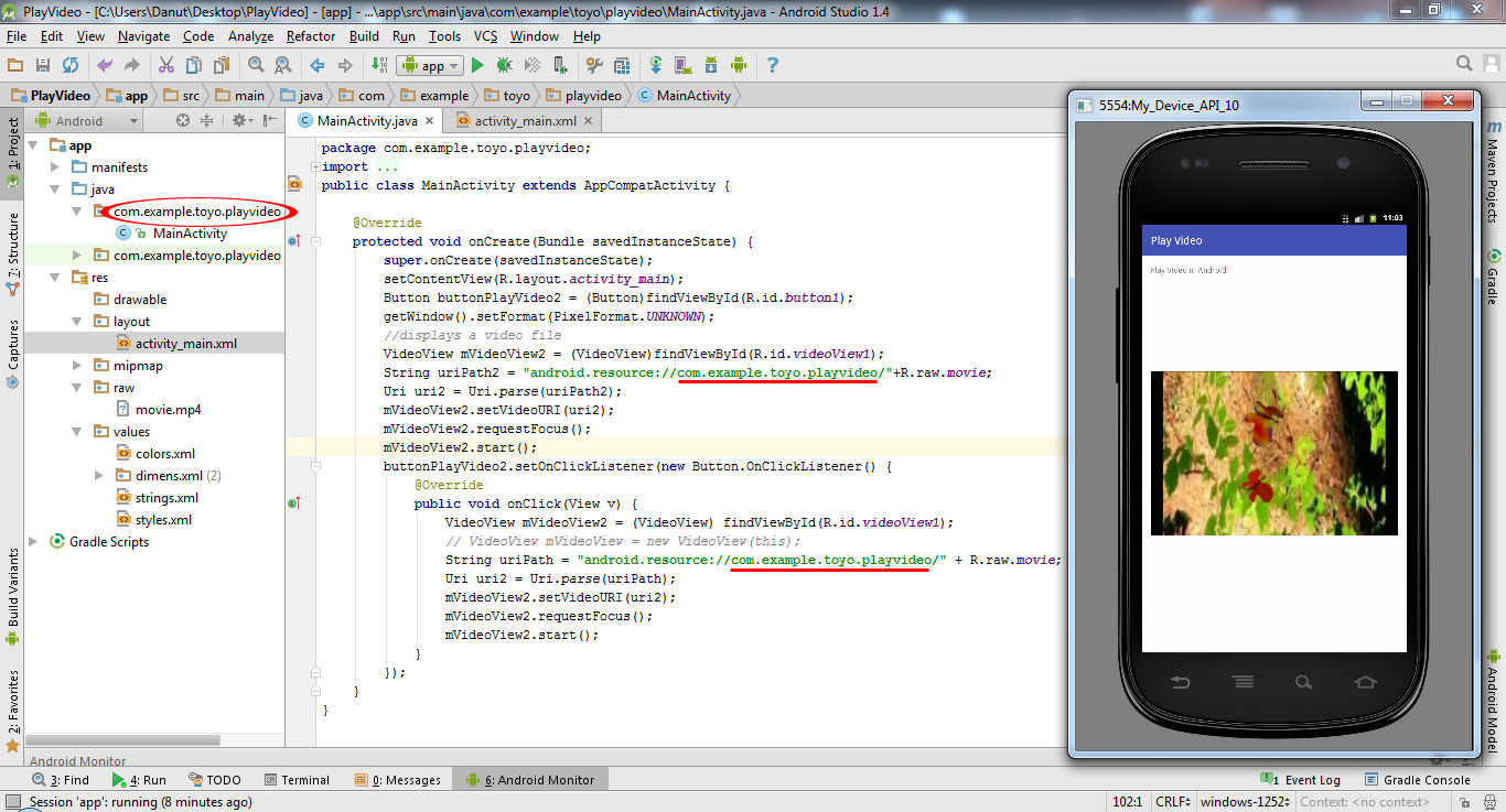 Tutorial how to Play Video in Android Studio 1.4