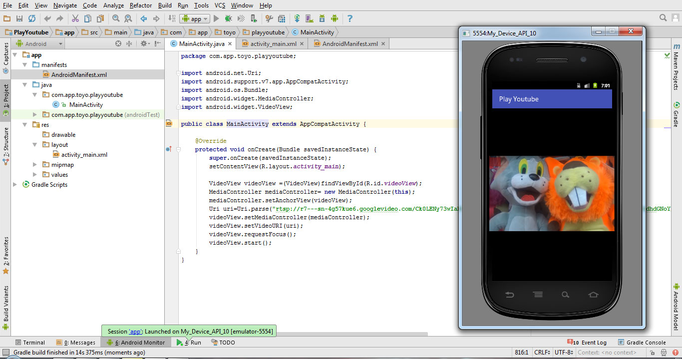 Tutorial how to play Youtube video in Android Studio 1 5