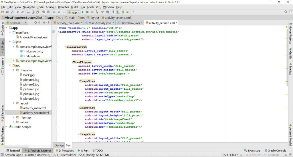 ViewFlipperActivity Second source code