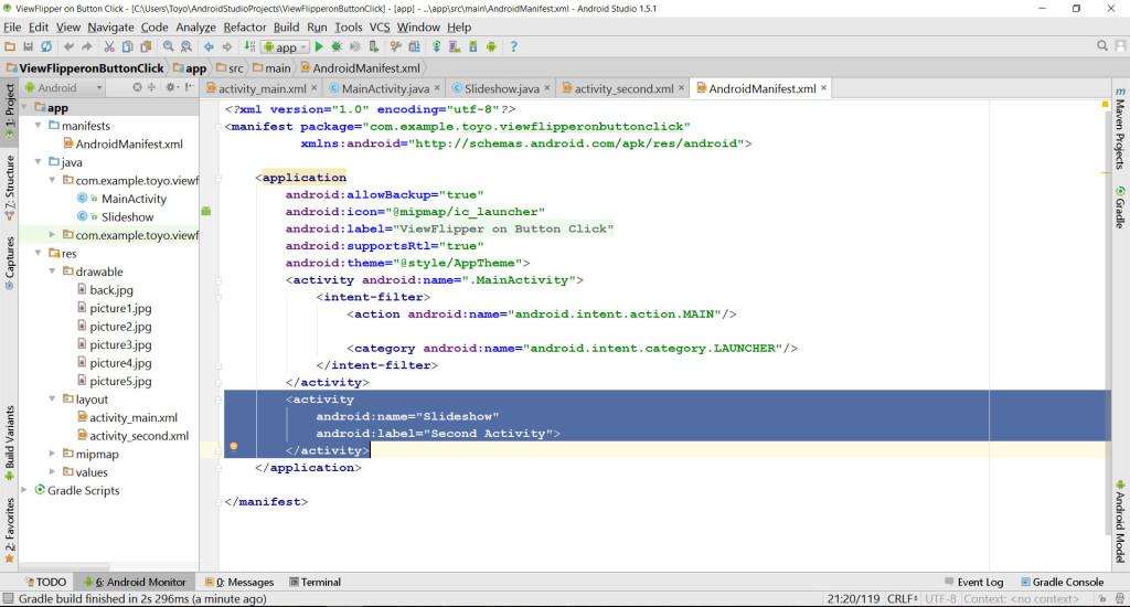 ViewFlipper AndroidManifest source code