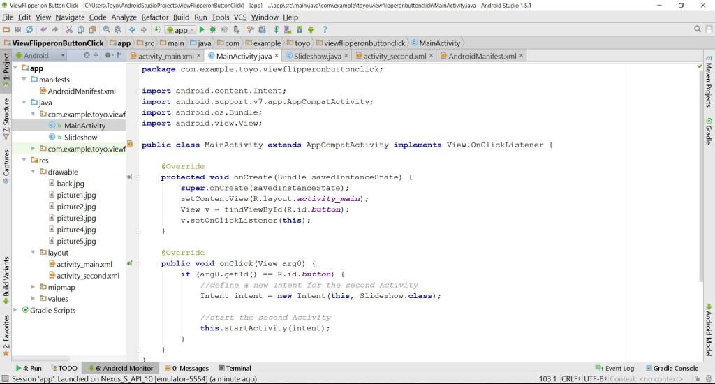 ViewFlipper Main Activity source code
