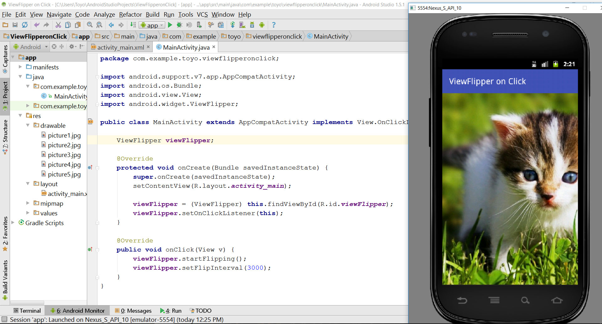 tutorial viewflipper on click in android studio