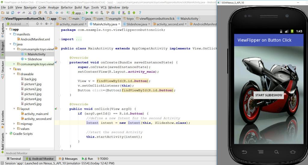 viewFlipper on button click source code