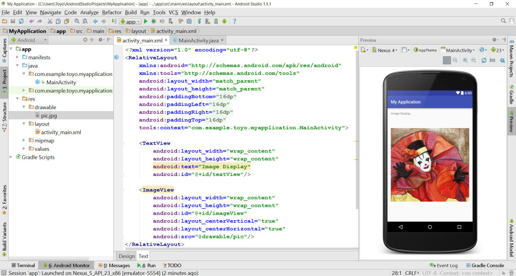 Image Display with ImageView in Android Studio